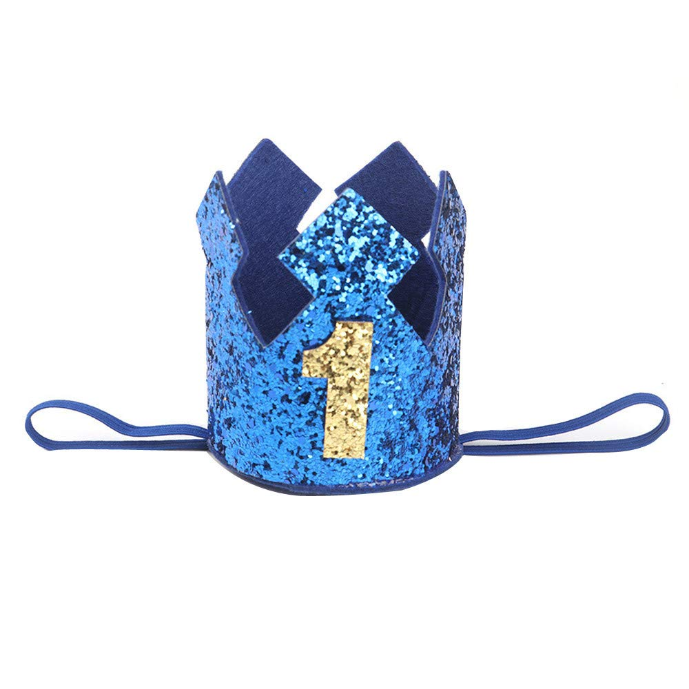 NUWFOR 1PC Boy Head Accessories Hairband Baby Elastic Brithday Number Crown Headwear(Blue,1)