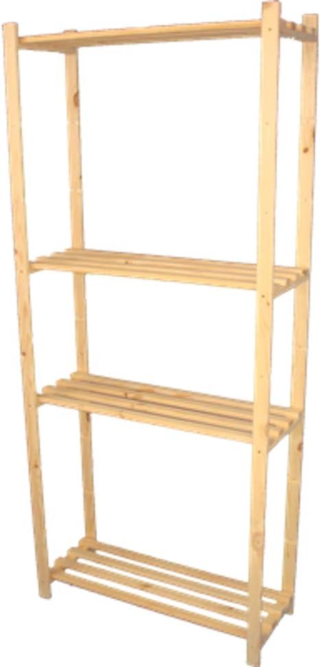 170 x 65 x 28 cm, estantería de madera sin tratar, ideal para carpetas, libros, zapatos, estantería de pie, archivadores, estantería de libros