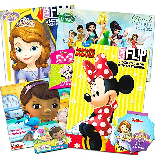 Disney Junior Gigantic Coloring Book Set For Girls Kids -- 4 Giant Coloring Books and over 1000 Stickers (Featuring Sofia the First, Minnie Mouse, Doc McStuffins, and Fairies)