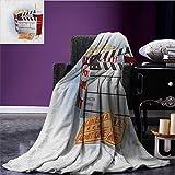 Movie Theater Printed blanket Soda Tickets Fresh Popcorn and Clapper Board Blockbuster Premiere Cinema minion blanket Multicolor size:51''x31.5''