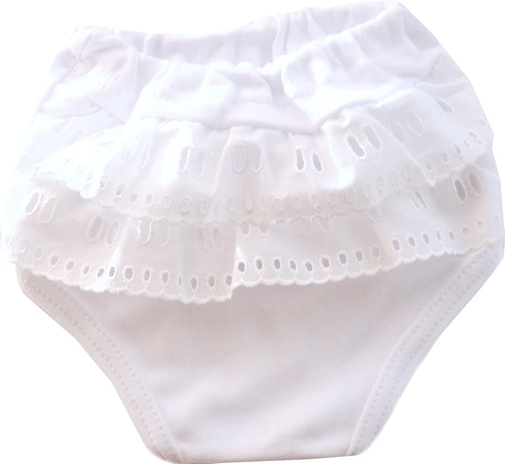 La Bortini Slips Frilly Kinder Baby Unterwäsche Unterhose Höschen mit Rüschen N11 Weiß
