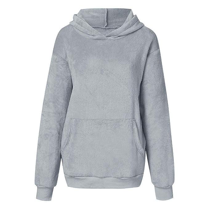 ZHRUI Womens Hairy Hooded Sudadera Abrigo Invierno cálido Lana Cremallera Bolsillo Wool Prendas de Abrigo Chaqueta (Color : Gris, tamaño : X-Large): ...