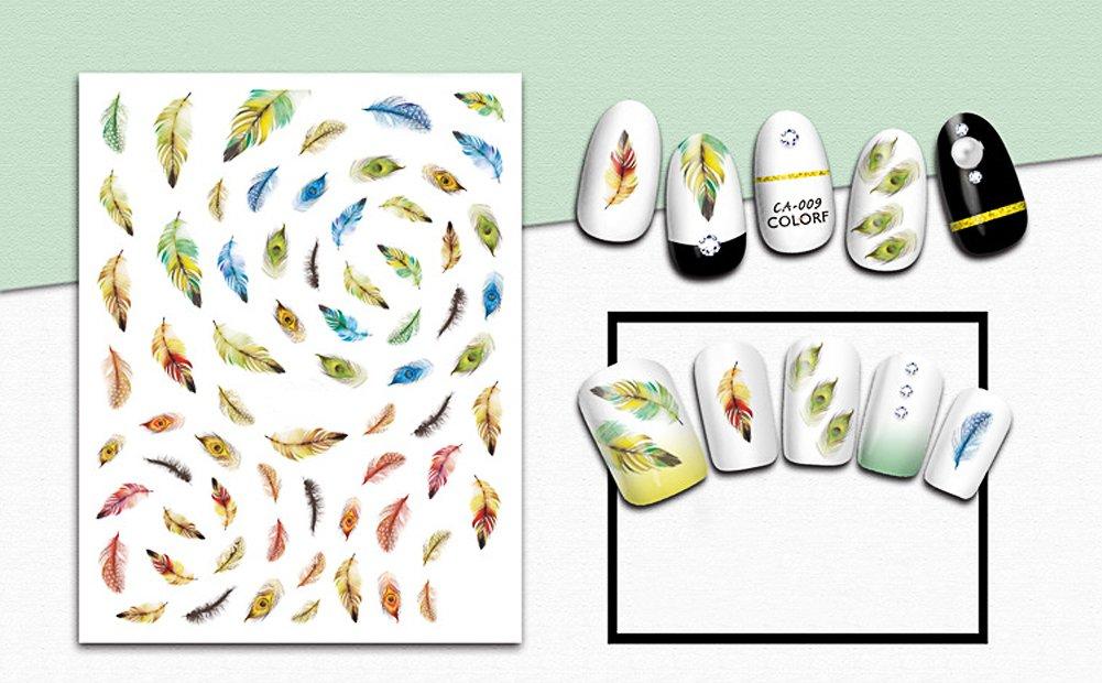 stickers plumas manicura