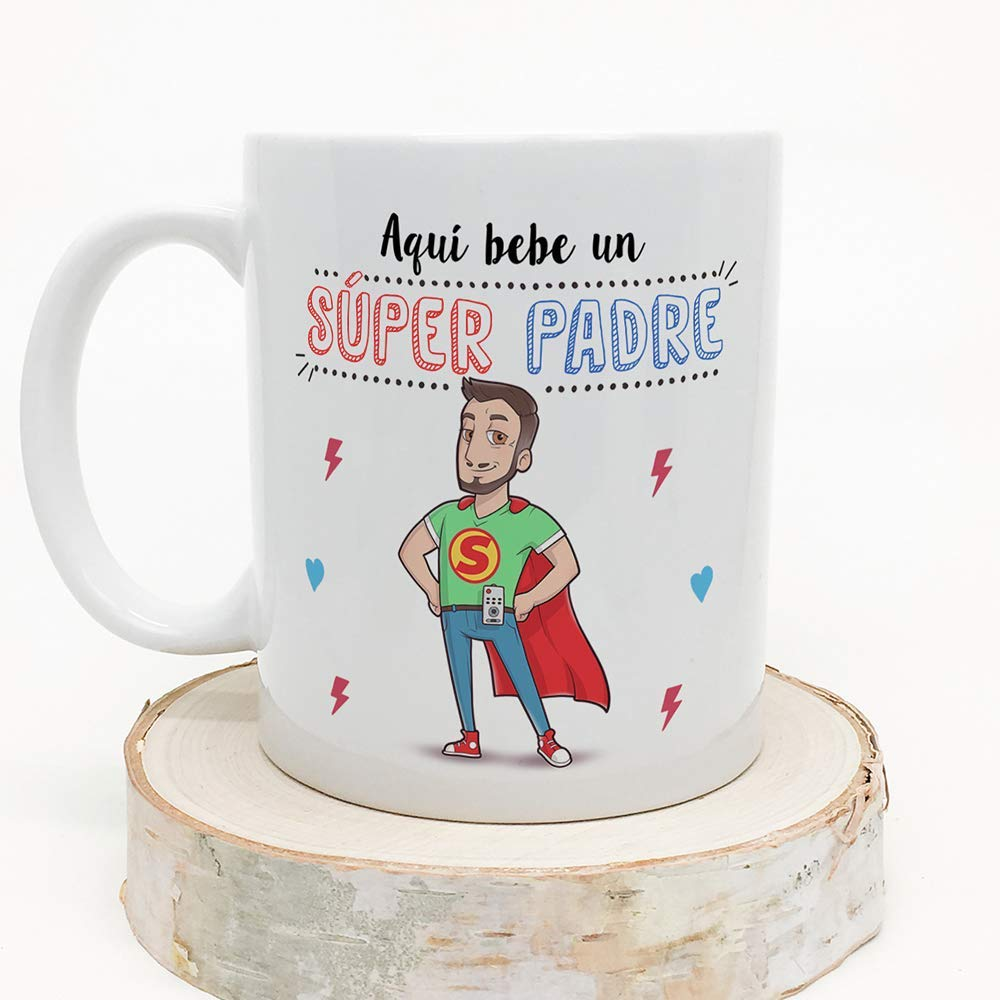 MUGFFINS Tazas Papa para Padres – AQUÍ Bebe UN Super Padre – Taza Desayuno Original 350 ml - Idea Regalo para el día del Padre