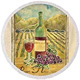Pixels Round Beach Towel With Tassels featuring ''Vineyard Pinot Noir Grapes N Wine - Batik Style'' by Audrey Jeanne Roberts