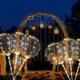 ZMunited Reusable LED Light Up Balloons 18 Inch Transparent Bobo Balloon 4 PCS Party and Wedding Balloons Perfect for Decoration Warm White Glowing Balloons