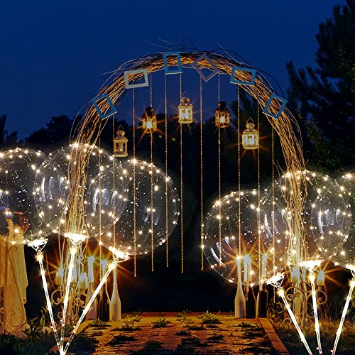 ZMunited Reusable LED Light Up Balloons 18 Inch Transparent Bobo Balloon 4 PCS Party and Wedding Balloons Perfect for Decoration Warm White Glowing Balloons -