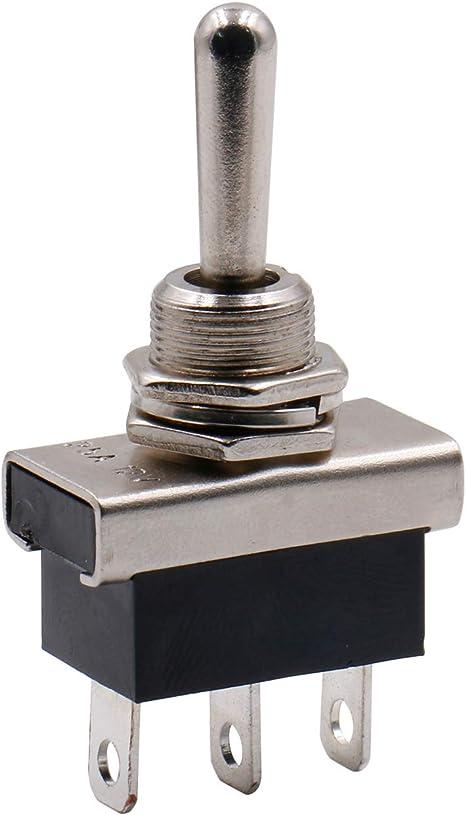 Heschen Kippschalter Aus Metall Robust Flick Flip Schalter 25 A 12 V Ein Aus Ein Spdt 3 Positionen 3 Polig Für Auto Kontrollleuchten Auto