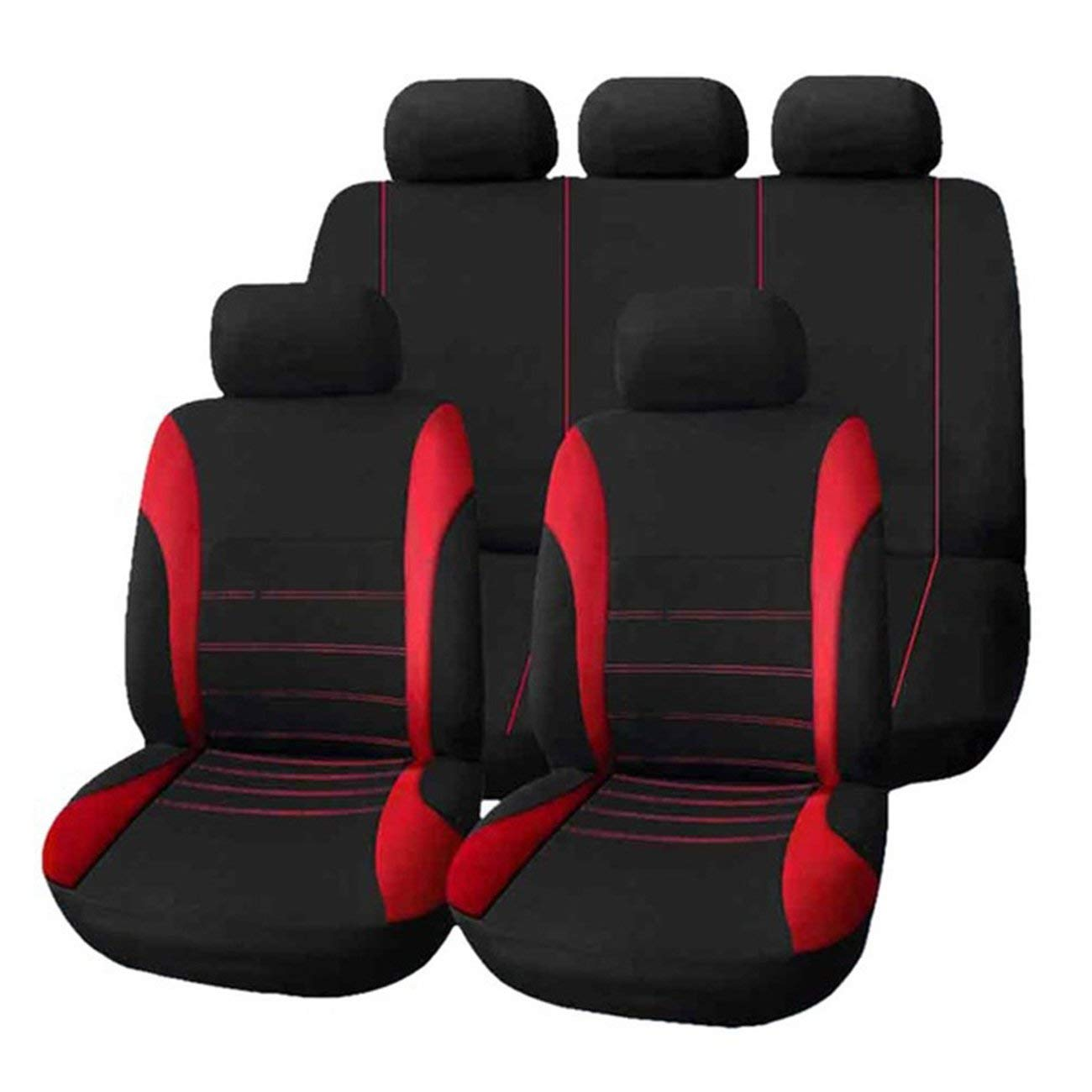 red 9pcs//Set Car Seat Cover Comfortable Dustproof Seat Protectors Pad Cover Universal Full Seat Covers for Vehicle Cars Panda