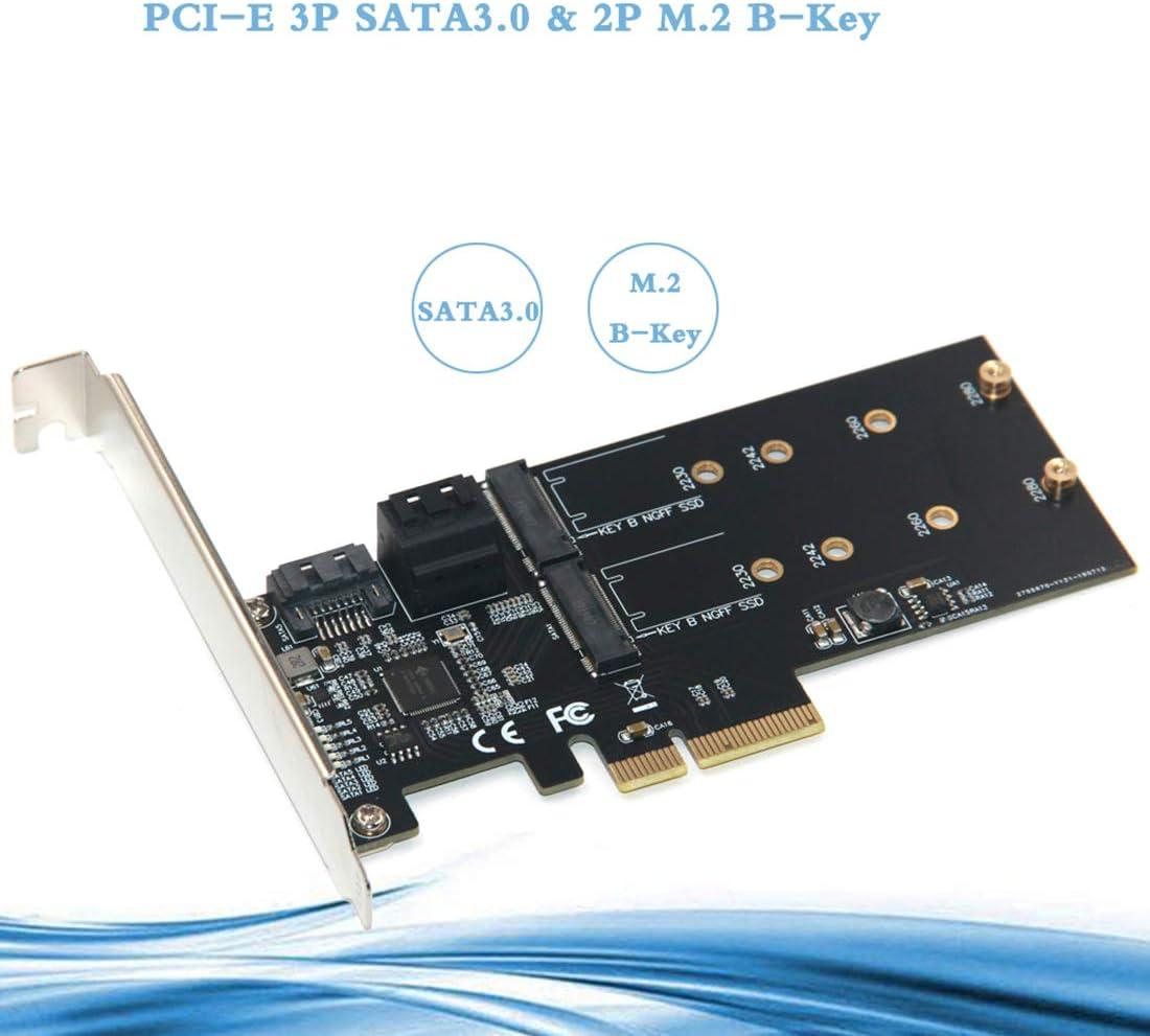 JMT PCI-E SATA3.0 to M.2 B-Key Adapter Card HDD Converter 3 SATA 3.0 External Ports 2 M.2 B-Key Ports Support M.2 B-Key SSD Hard Drive 2.5//3.5 inch Serial Mechanical Hard Drive