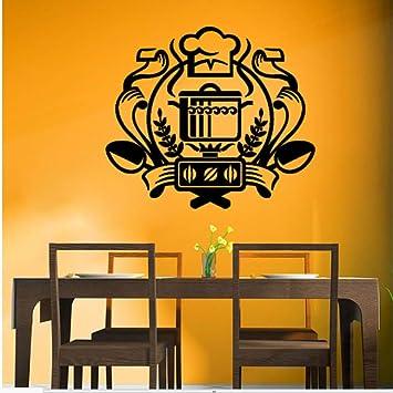 hllhpc Impermeable Insignia Chef Etiqueta De La Pared Caldero En La Estufa De Gas Tatuajes De Pared Cocina Decoración para El Hogar 67 * 59 Cm: Amazon.es: ...