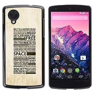 TECHCASE**Cubierta de la caja de protección la piel dura para el ** LG Google Nexus 5 D820 D821 ** Freedom Of Society Typography
