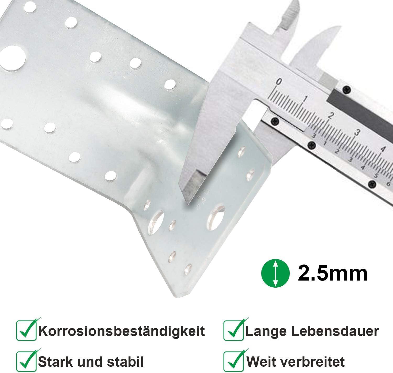 Hengda Schwerlast-Winkelverbinder mit Sicke 90 x 90 x 65 mm Lochwinkel Bauwinkel Holzverbinder 25 St/ück