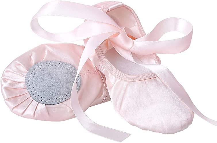 Amazon.com: Zapatos de ballet para niñas de color rosa con ...