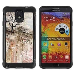 LASTONE PHONE CASE / Suave Silicona Caso Carcasa de Caucho Funda para Samsung Note 3 / Painting Art Rock Cliff Tree