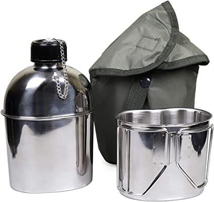 TYPE G.I US Made 1 QT Canteen With New Stainless Steel Cup /& MOLLE  Pouch KIT.