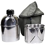 Goetland Stainless Steel WWII US Military Canteen Kit 1QT with 0.5QT Cup Nylon Cover G.I.