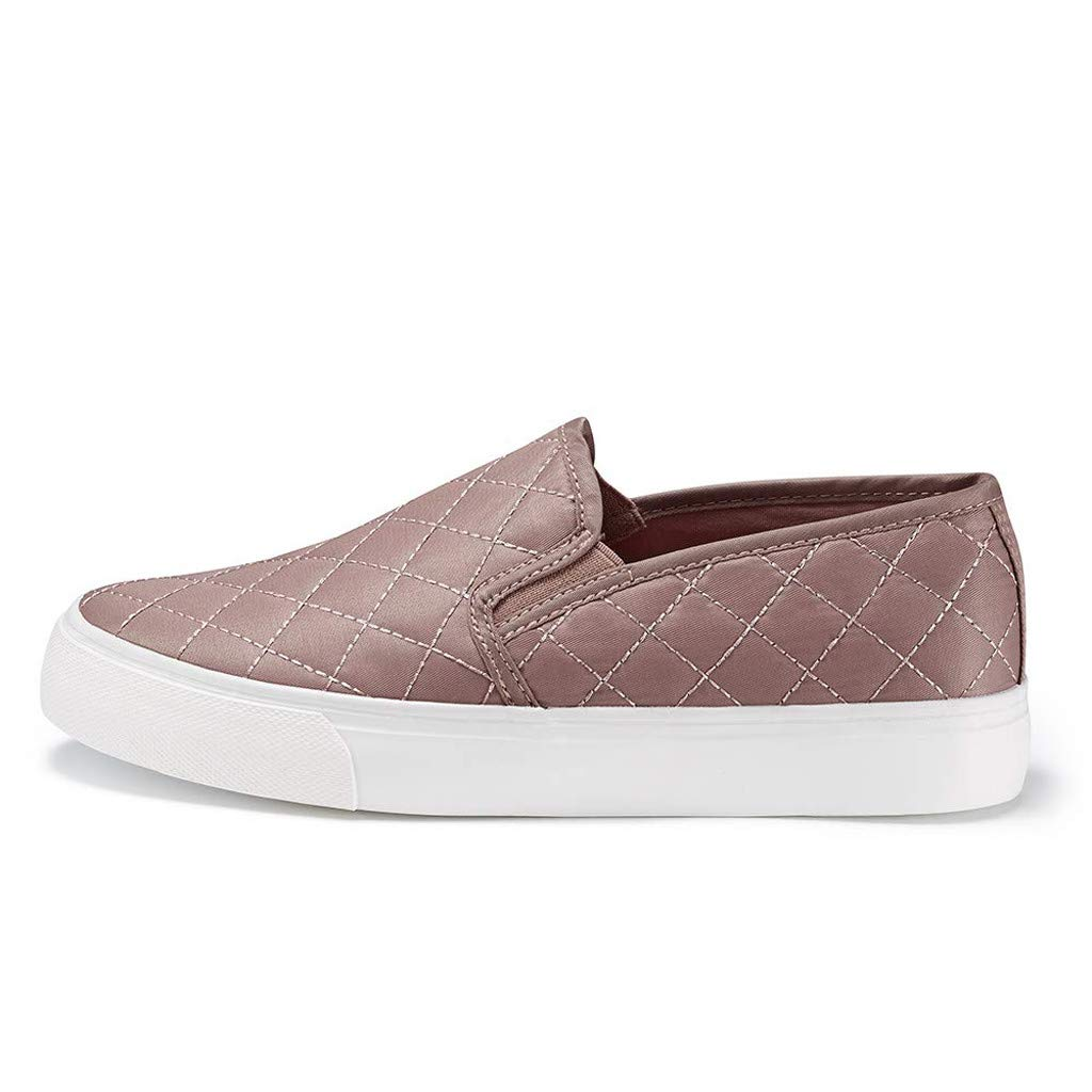 Emimarol Women/'s Slip On Sneakers Perforated//Quilted Casual Shoes Fashion Comfortable Walking Flats
