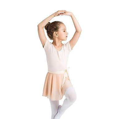 d142dca9e Li Girls Kids Leotard Ballet Dance Bodysuit Gymnastic Costume Chiffon Wrap  Basic Cotton Short Sleeve Sportswear Dancewear Uniform: Amazon.co.uk:  Clothing