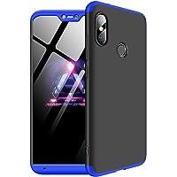 """Kit Capa Capinha Anti Impacto 360 Para Xiaomi Mi A2 Lite Tela 5.84"""" - Case Acrílica Fosca E Acabamento Macio Com Película De Vidro Temperado - Danet (Preto Com Azul)"""