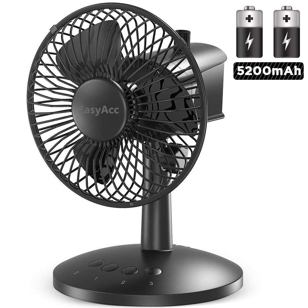 EasyAcc Battery Oscillating Desk Fan Portable Table Fan 5200mAh Battery Personal USB Powered Fan with Adjustable Head 6-16 Hours 3 Speeds Quiet Enhanced Airflow for Travel Camping Office BBQ Hurricane