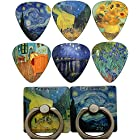 Vincent Van Gogh Guitar Picks (12-Pack) and Starry Night and Cafe Universal Cell Phone Ring Holders (2-Pack) - Cool Unique Accessories