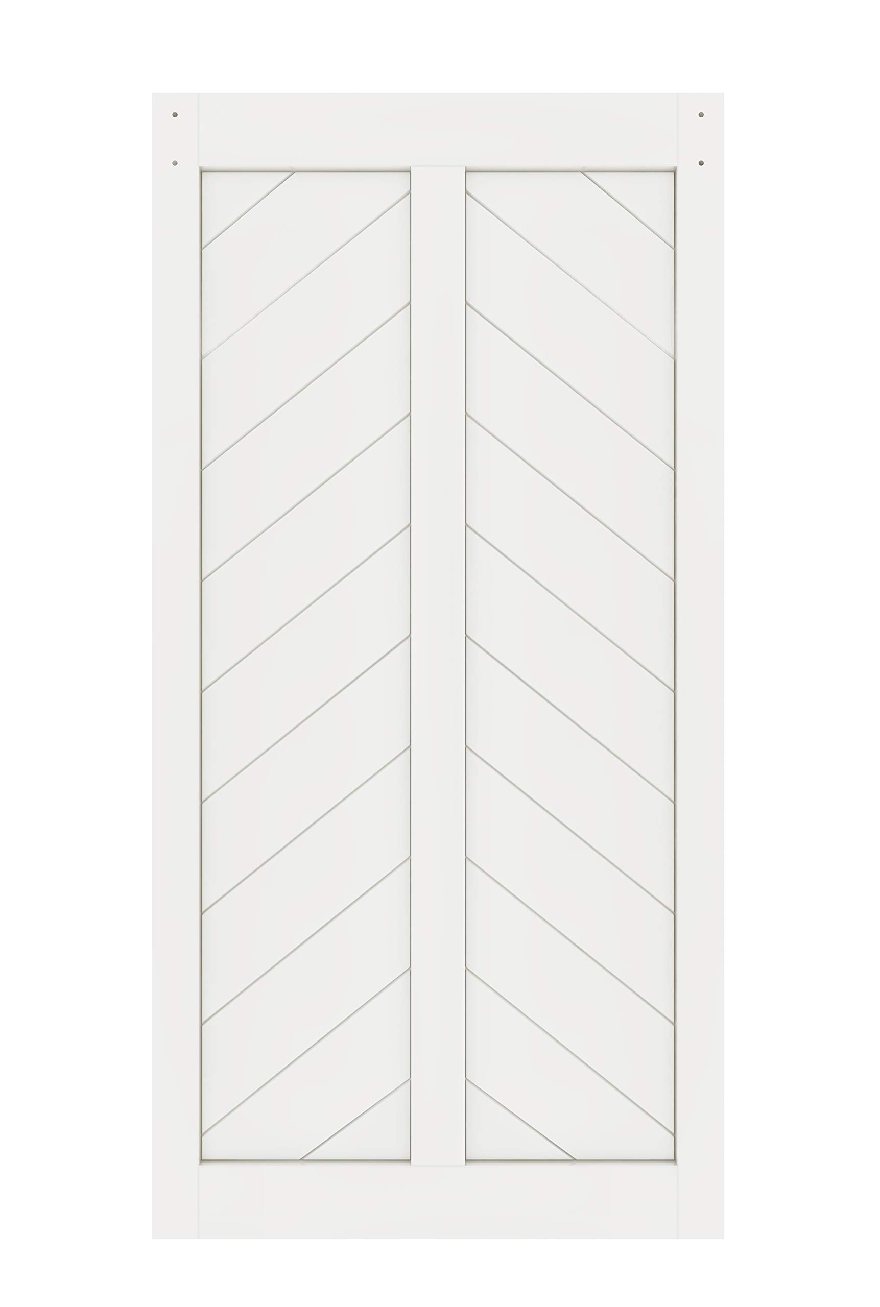 DIYHD 42X84in Fish Bone V Shape Sliding Barn Slab MDF Solid Core Primed Interior Door Panel(Disassembled), White-42X84'' White