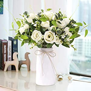 YUYAO Artificial Flowers Rose Bouquets with Vase Fake Silk Flower with Ceramic Vase Modern Bridal Flowers for Wedding Home Table Office Party Patio Decoration (White)