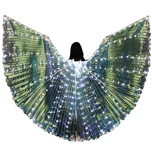 Mens Belly Dance Costumes (Bldance LED Isis Wings Belly Dance Costume Cosplay Performance with Telescopic Sticks (White))