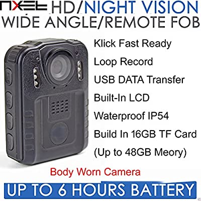 NXET® Body Worn Camera, 1080P HD Infrared Night Vision DVR CCTV Security Remote Control IR Cam with 16gb Built in Memory for Police Sia Doorman Nightclub Bar Pub Guard Cop