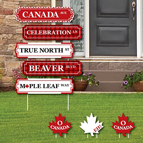 Canada Day - Street Sign Cutouts - Canadian Party Yard Signs & Decorations - Set of 8 -