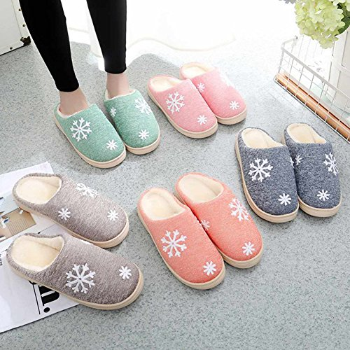 zantec Winter Schuhe für Frauen Weich Warm Lang Plüsch Silent Schneeflocke Slipper anti-slipping Sohle Outdoor Innen-Hausschuhe, orange Rose