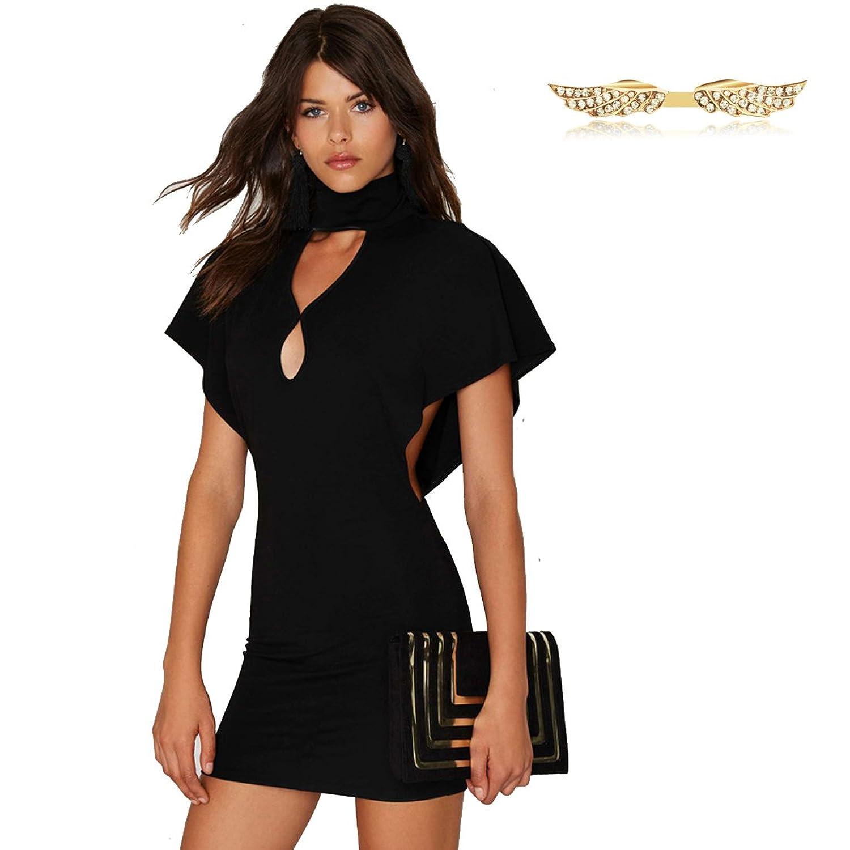 Angelwing Damen Kleider Partykleider Paket-Hüfte-Kleid Hoch Collar ...