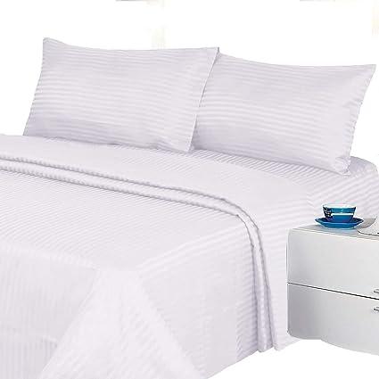 2b6c2c4498b1 1200 Thread Count Four (4) Piece Queen Size White Stripe Bed Sheet Set,  100% Egyptian Cotton, Premium Hotel Quality: Amazon.ca: Home & Kitchen