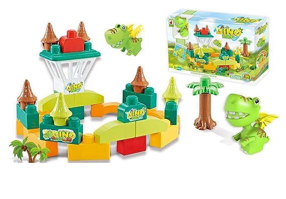 Crackles 32 Piece Cute Dinosaur Castle Building Blocks Set
