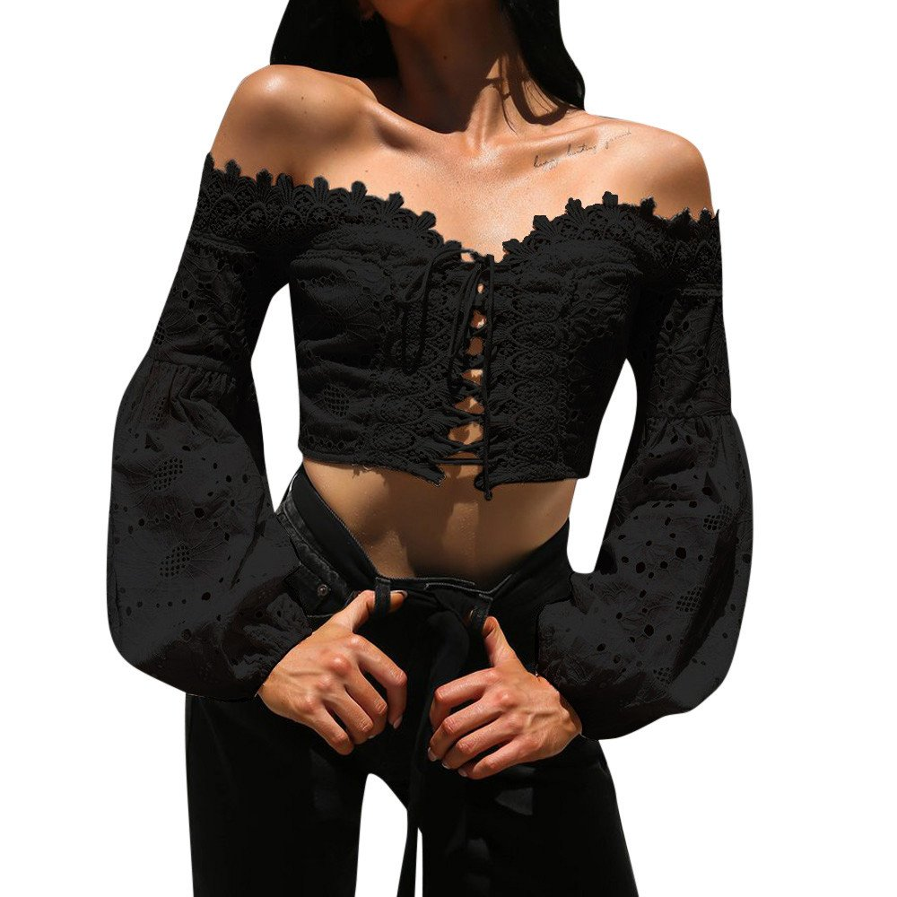 TOPUNDER Women Off Shoulder Long Sleeve T-Shirt Hollow Lace Loose Blouse Tops