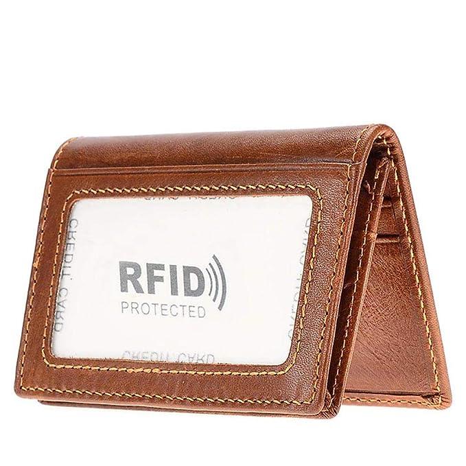 Amazon.com: Carteras de piel auténtica con bloqueo RFID ...