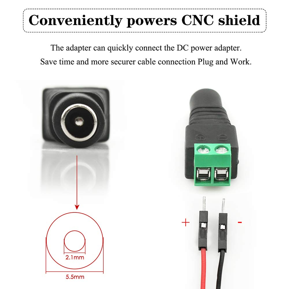 CNC Shield V3 Module DC Female Power Connector Brushless DC Cooling Fan KeeYees Upgrade 3D Printer CNC Kit with Tutorial DRV8825 Stepper Motor Driver for Arduino