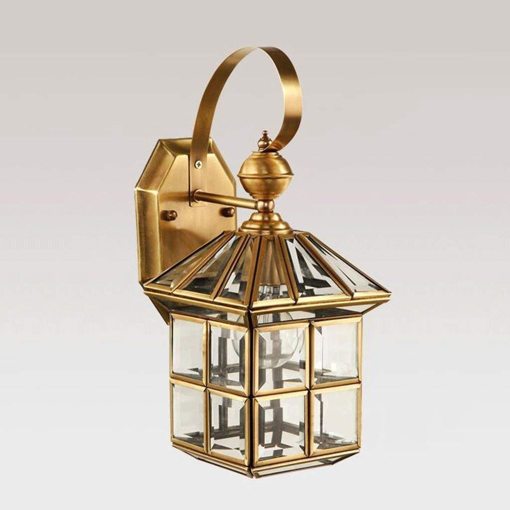 FuweiEncore Alle Glas Bronze Outdoor Wandleuchte E27 Indoor Lounge der Beleuchtung Nachttischlampe Balkon Road Lights Wandleuchte (Farbe   -, Größe   -)