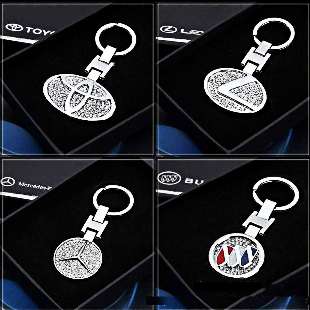 VILLSION Llavero del Coche Aleaci/ón de Zinc Metal del Llavero Doble Cara Logo Llavero de Diamante