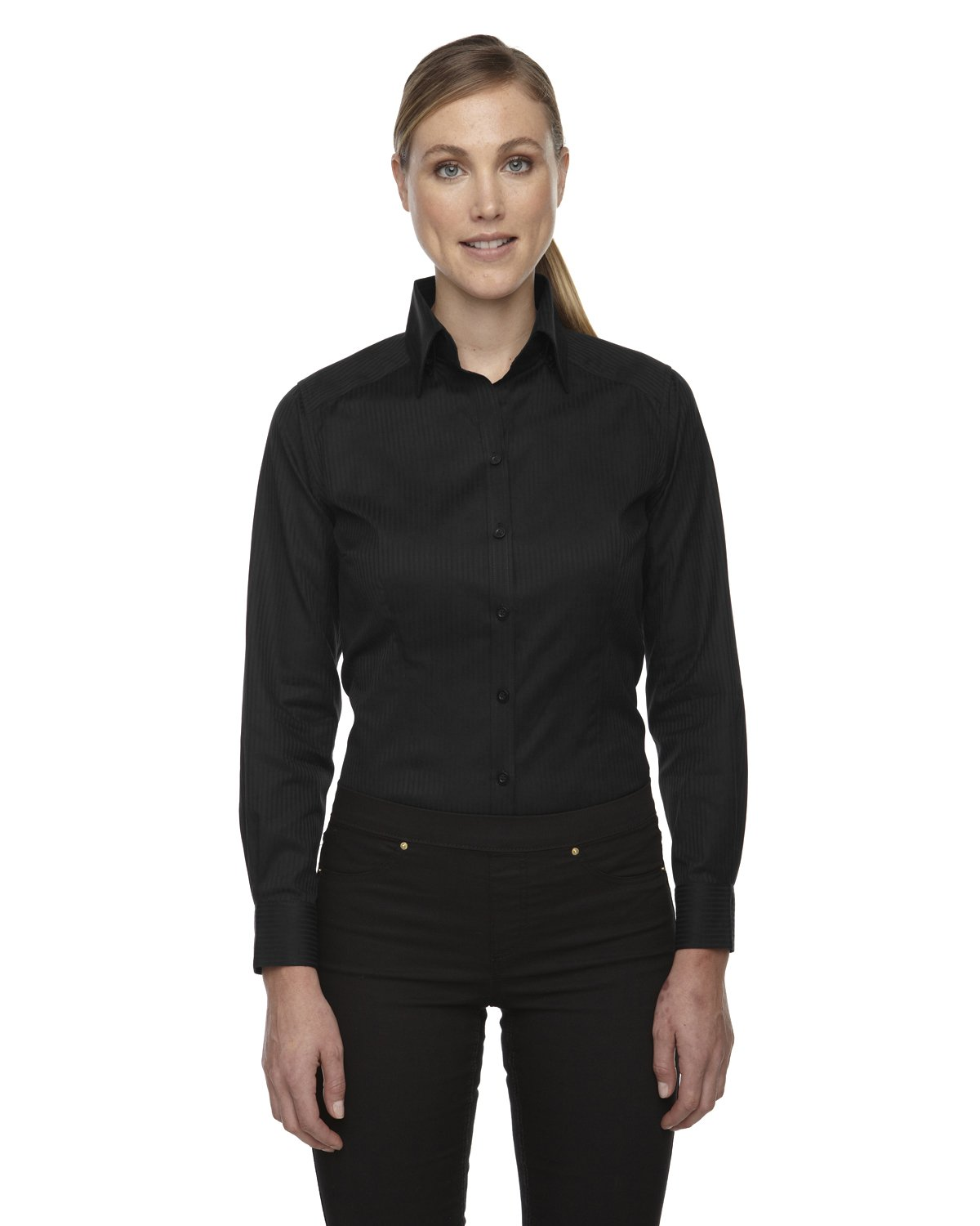 Ash City Ladies Jacquard Shirts (Medium, Black) by Ash City Apparel