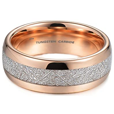 Mens Rose Gold Tone Tungsten Carbide Unisex Wedding Engagement Ring With Imitation Meteorite Inlay L