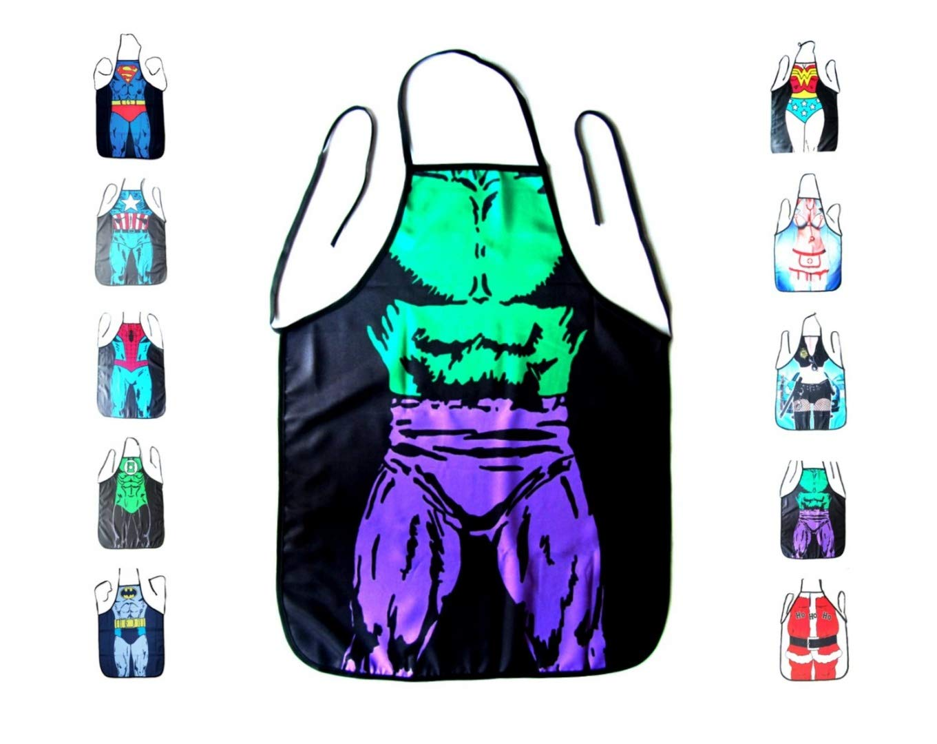Starixx Funny Kitchen Apron, Cooking and Grilling with Superman, Batman, Wonder Woman or Captain America