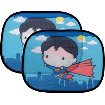 "2 Pack Cute Chibi Superman Side Car Window Sun Shade - 17""x13\"" Licensed DC Comics Superhero Cling Sunshade for Glare-UV Ray Protection for You and Your Child Baby–Universal Fit for Car Sedan Truck SUV: Automotive [5Bkhe1408469]"