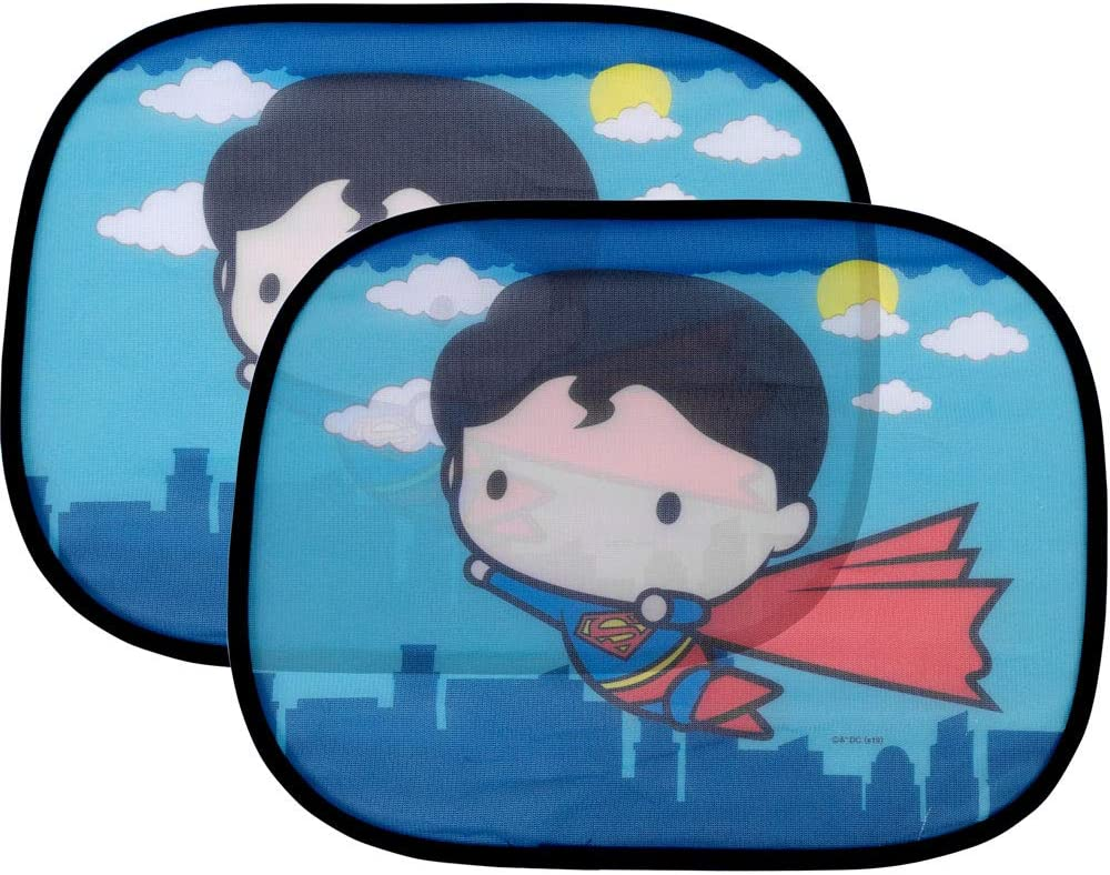 "2 Pack Cute Chibi Superman Side Car Window Sun Shade - 17""x13"" Licensed DC Comics Superhero Cling Sunshade for Glare-UV Ray Protection for You and Your Child Baby–Universal Fit for Car Sedan Truck SUV"