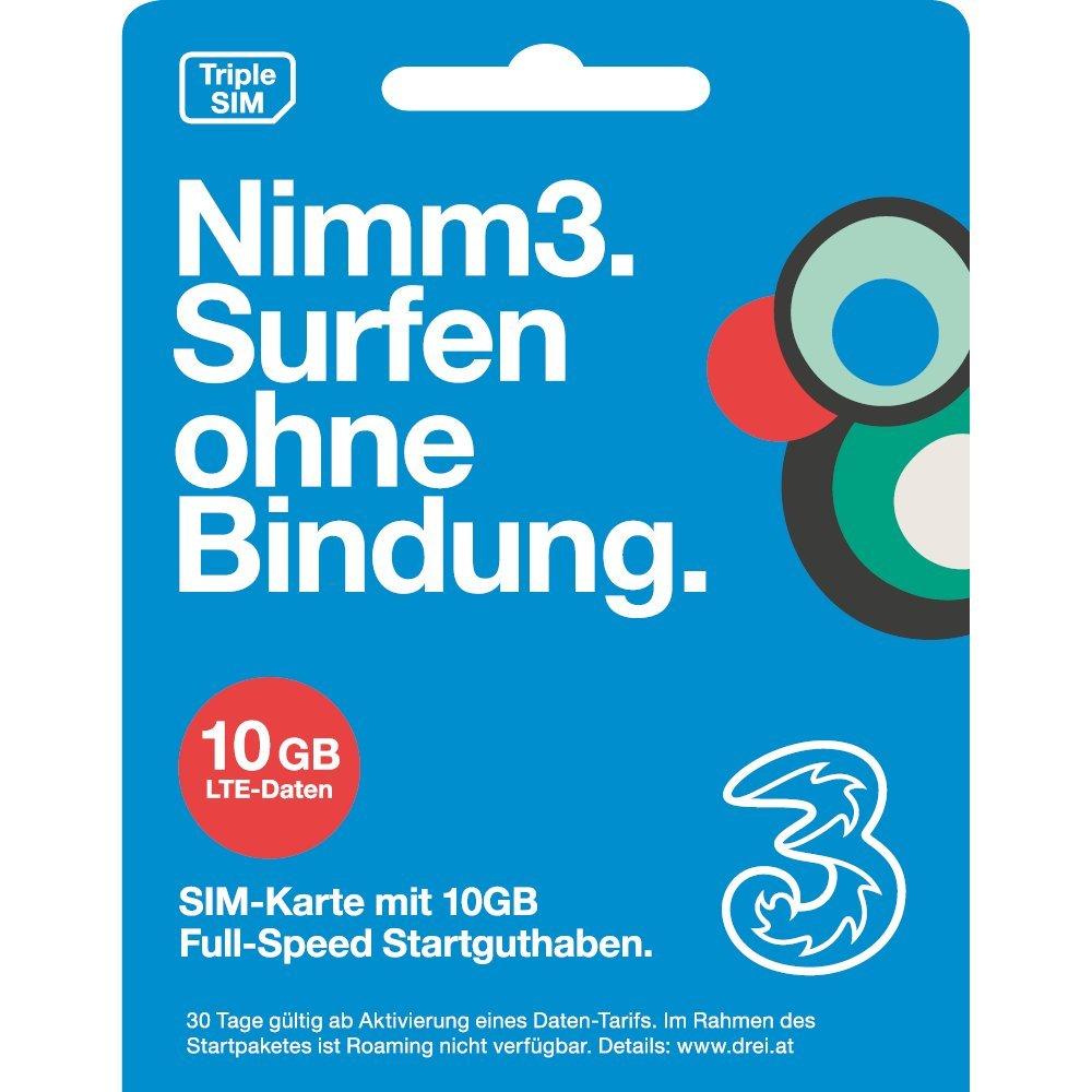 Nimm3 - die Wertkarte von Drei. Österreich, SIM: Amazon.de: Elektronik