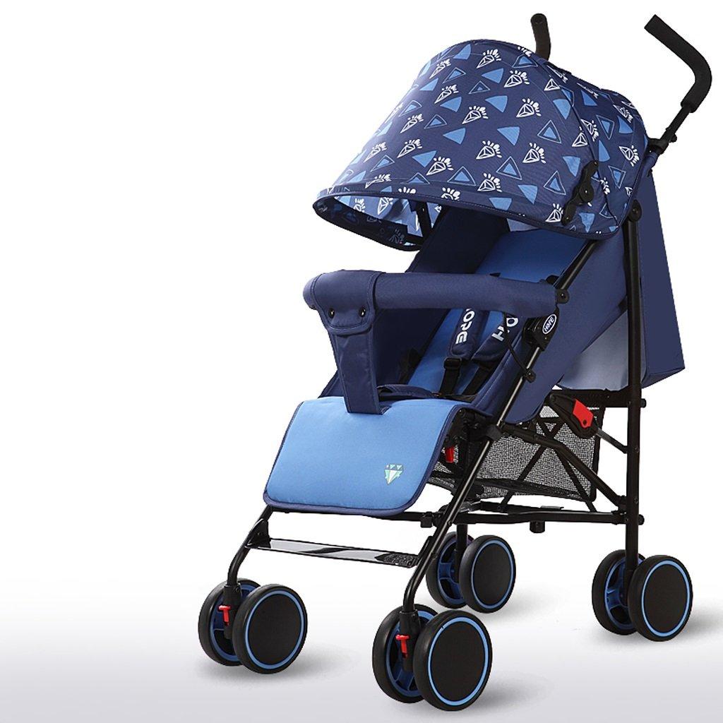 赤ちゃんベビーカー軽量シンプルフィット折りたたみシットトゥゲザー子供用トロリー(ブルー)(グリーン)(ピンク)61 * 102cm ( Color : Blue ) B07BSY3LCJ