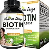 Cheap Natural Biotin Supplement for Healthy Hair Growth – B Vitamin Strengthens Hair and Nails – Helps Fight Hair Loss – Aids Digestion – Stop Thinning Hair – For Women and Men – By Natures Design