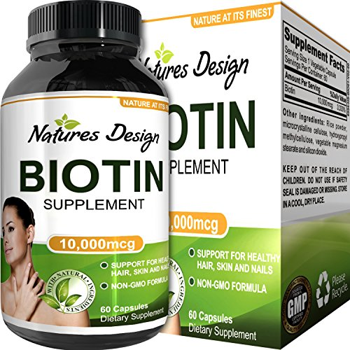 Natural Biotin Supplement for Healthy Hair Growth - B Vitamin Strengthens Hair and Nails - Helps Fight Hair Loss - Aids Digestion - Stop Thinning Hair - For Women and Men - By Natures Design -