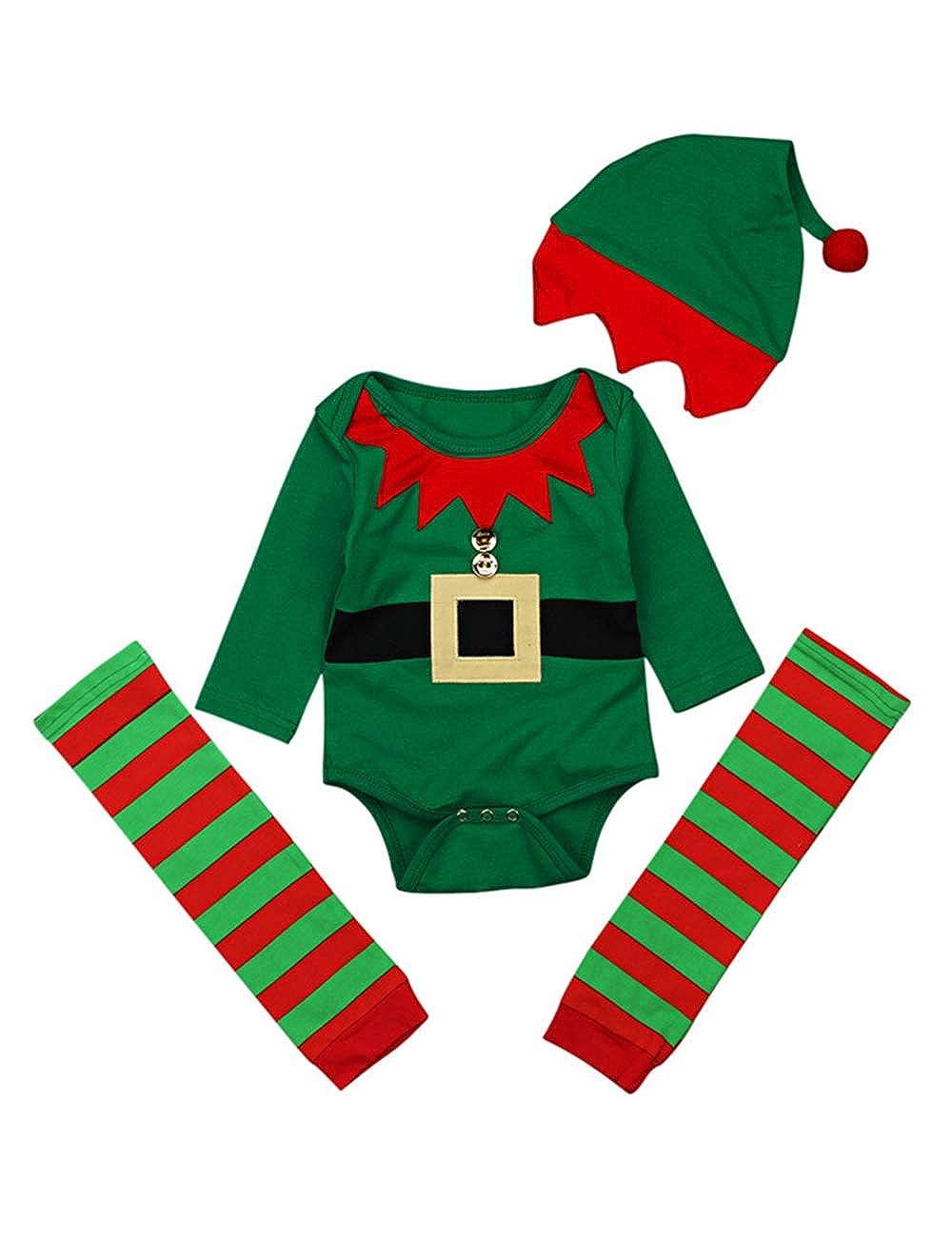 BESBOMIG Unisexo Navidad Impreso Mameluco Jumpsuit Moda - Bebé Niña Cutey 3 Piezas Ropa Conjuntos para Primavera Otoño